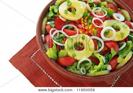 Large salad with pineapple