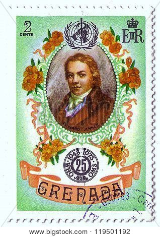 Grenada - Circa 1973: Postal Stamp Printed In Grenada Shows Edward Jenner, Series 25Th Anniv Of Who,