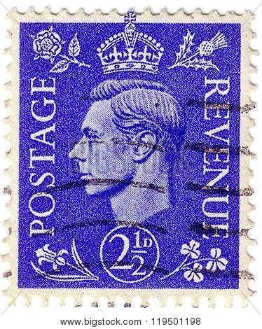 United Kingdom - Circa 1937: Postage Stamp Printed In England (perfin