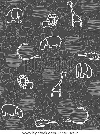 Seamless pattern showcasing cute little baby safari animals