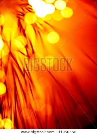 red hot fiber optics strands close-up