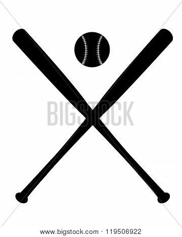 Vector Crossed Baseball Bat Icon