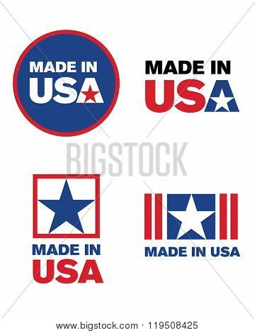 Vector 'Made in the USA' icon and logo set
