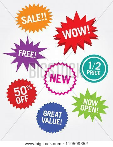 A collection of vector attention grabbers for retail and commerce poster