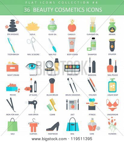 Vector beauty and cosmetics color flat icon set. Elegant style design.