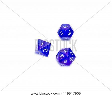 Specialized Polyhedral Dice On A Light Background