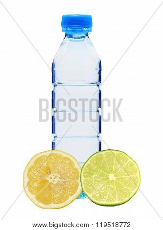 Blue Bottle With Water And Fresh Lemon And Lime Isolated On White