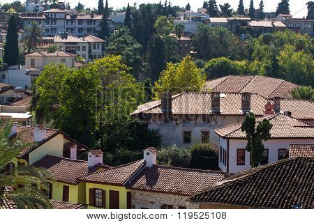 Red roofs of buildings in Antalya, Turkey. Red tiles on roofs in the Mediterranean