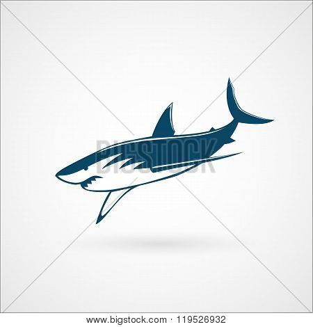Shark Fast-moving Attack Logo Sign On White Background Vector Illustration