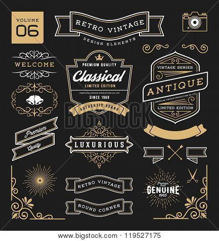 Set of retro vintage graphic design elements.