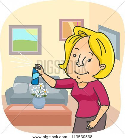 Illustration of a Woman Spraying Air Freshener All Over Her Home