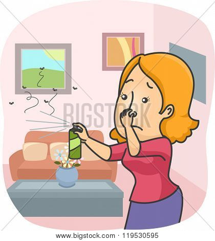 Illustration of a Woman Spraying Insecticide All Over Her Home