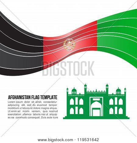 Afghanistan Flag Wave And Mazar-i-sharif, Shrine Of Hazrat Ali Vector Template