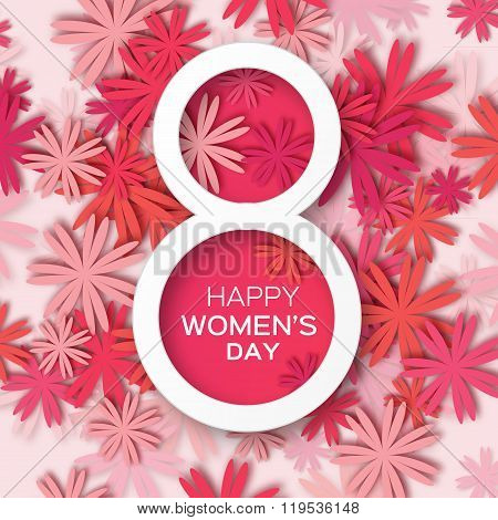 Abstract Red Floral Greeting card - International Happy Women's Day - 8 March holiday background