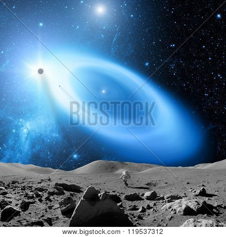 Moon-like surface planet in a distant galaxy.