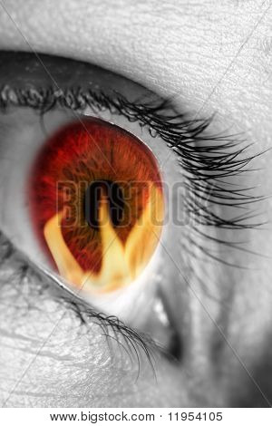 Red eye reflecting fire