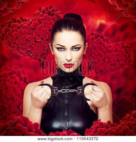 Sexy Dominatrix Holding Handcuffs On Heart Background