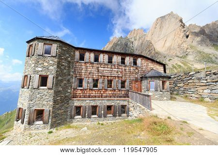 Alpine Hut Sajathutte And Mountain Rote Saule In The Alps, Austria