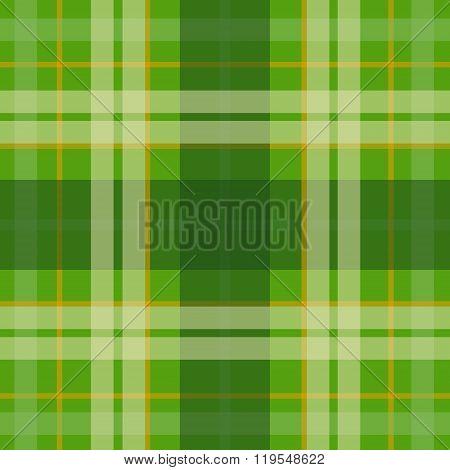 Vector seamless scottish tartan pattern in green orange beige. British or irish celtic design for te