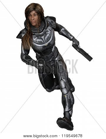 Future Soldier, Black Female, Running Forward