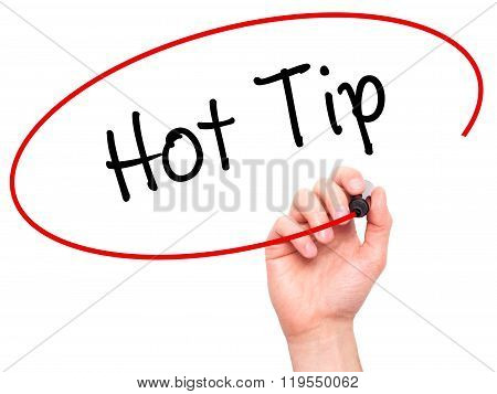 Man Hand Writing Hot Tip With Black Marker On Visual Screen.