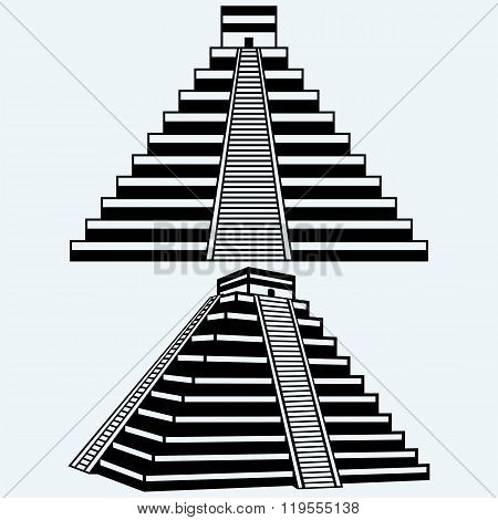 Pyramids in central mexico. Isolated on blue background. Vector