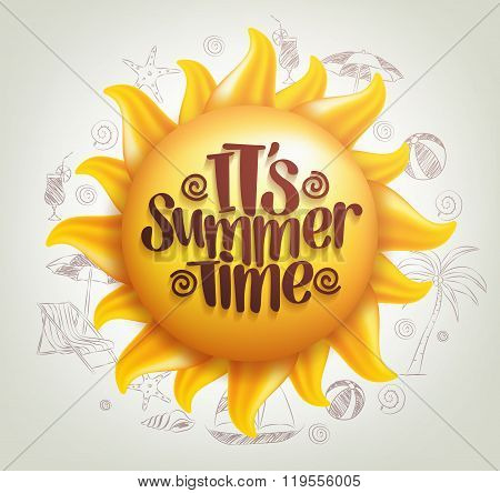 3D Realistic Sun Vector with Summer Time Title in a Background
