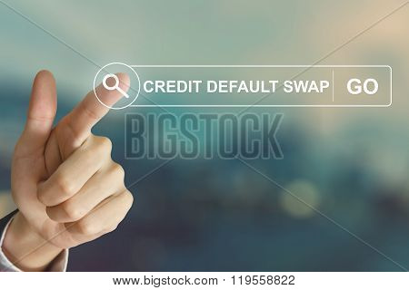 Business Hand Clicking Credit Default Swap Button On Search Toolbar