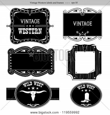 Western Labels.vector Black Silhouettes Isolated On White For Design