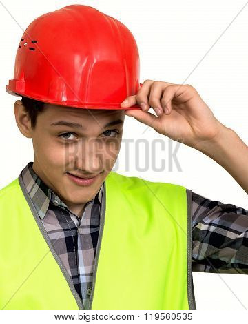 Young Builder In Vest And Helmet On A White Background