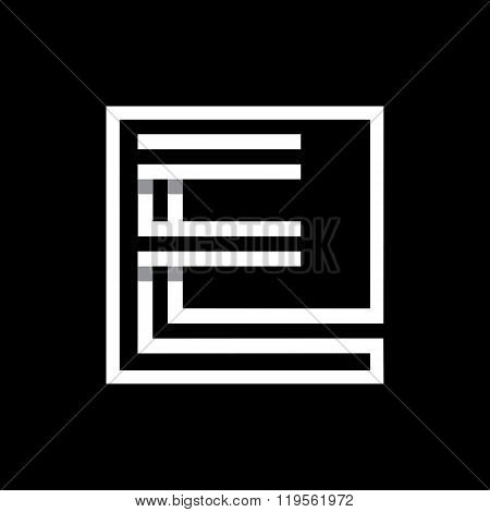 Capital letter E  . Overlapping with shadows monogram, logo, emblem.