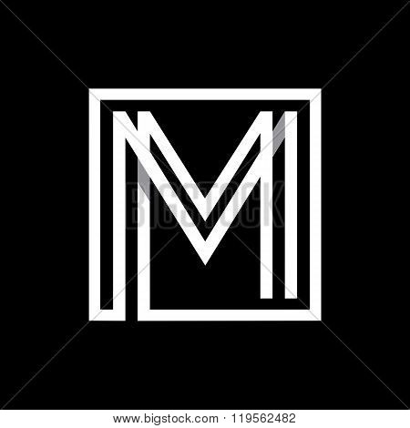 Capital letter M  . Overlapping with shadows monogram, logo, emblem.