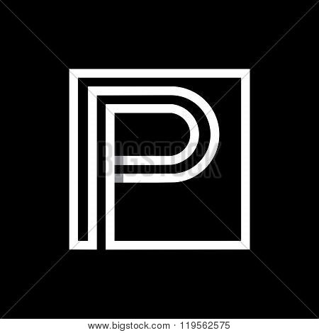 Capital letter P  . Overlapping with shadows monogram, logo, emblem.