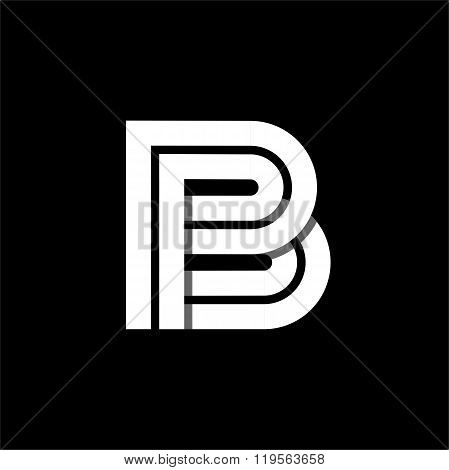 Letter B wide white stripes . Logo, monogram, emblem trendy design.
