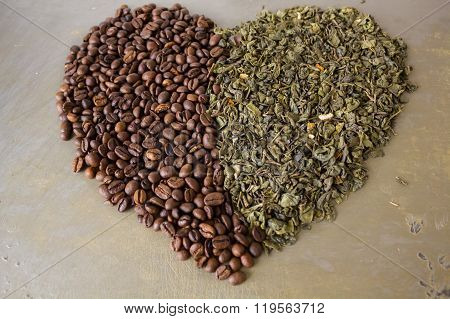 Heart of grains  black coffee and green tea leaves