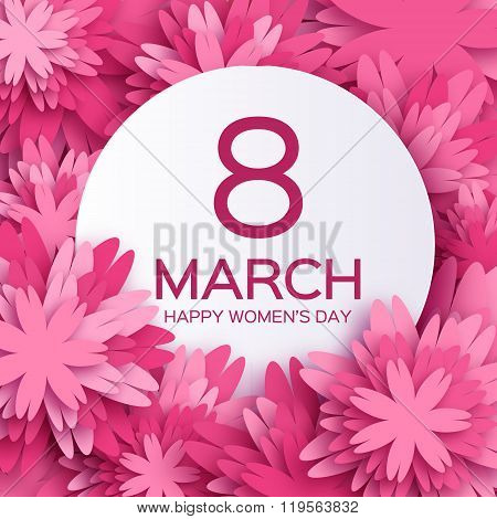 Abstract Pink Floral Greeting card - International Happy Women's Day - 8 March holiday background