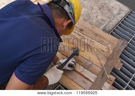 Carpentry Hammer Tack And Wood Floors Frame Design Background.