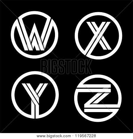 Capital letters W, X, Y, Z. From double white stripe .