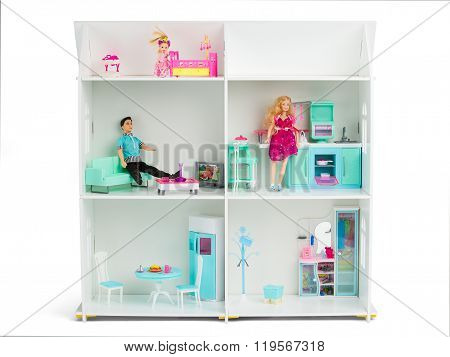 White Wooden Dollhouse With Dolls And Furniture