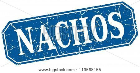 nachos blue square vintage grunge isolated sign