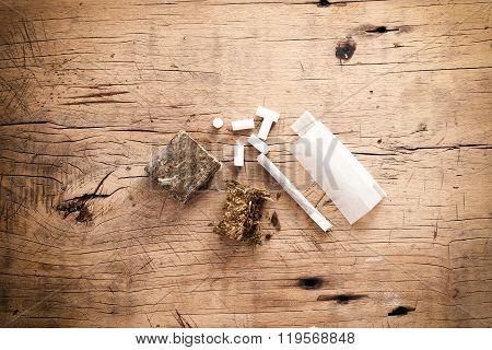 Weed Marijuana Hashish Roll Wood Background