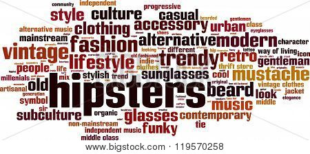 Hipsters word cloud concept. Vector illustration on white poster