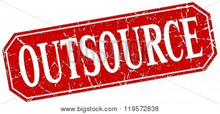 Outsource Red Square Vintage Grunge Isolated Sign