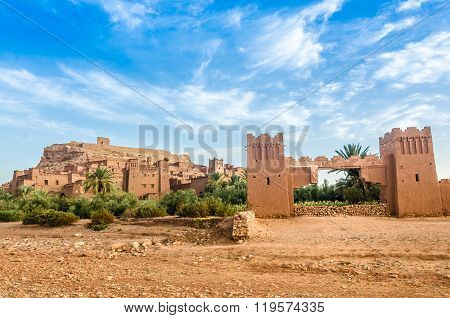 Ait Benhaddou, fortified city, kasbah or ksar, along the former caravan route between Sahara and Marrakesh in present day Ouarzazate, Morocco