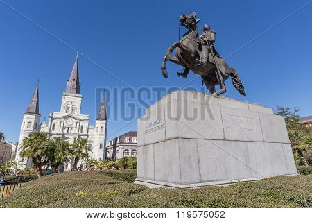 St. Louis Cathedral, Jackson Square And Monument In French Quarter, New Orleans,  Louisiana