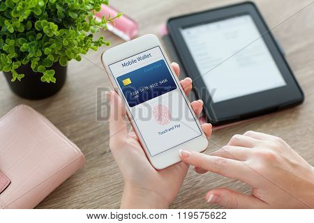 Female Hands Holding Phone With App Mobile Wallet On Screen
