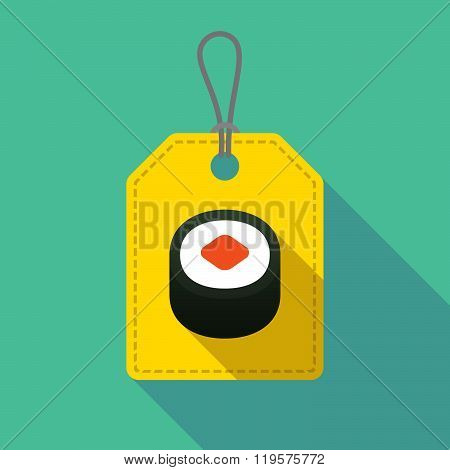 Long Shadow Label Icon With A Piece Of Sushi Maki