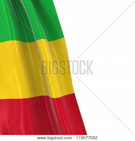Hanging Flag Of Mali - 3D Render Of The Malian Flag Draped Over White Background