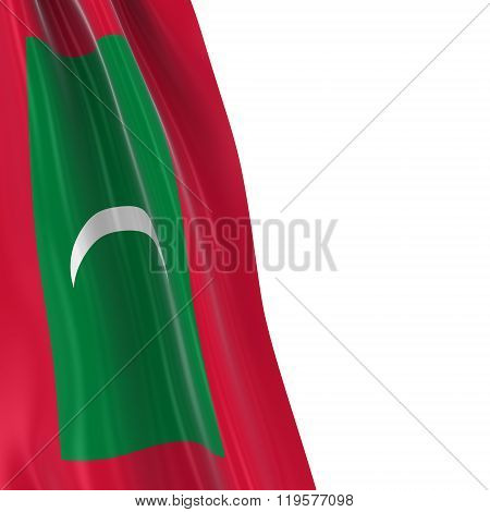 Hanging Flag Of Maldives - 3D Render Of The Maldivian Flag Draped Over White Background