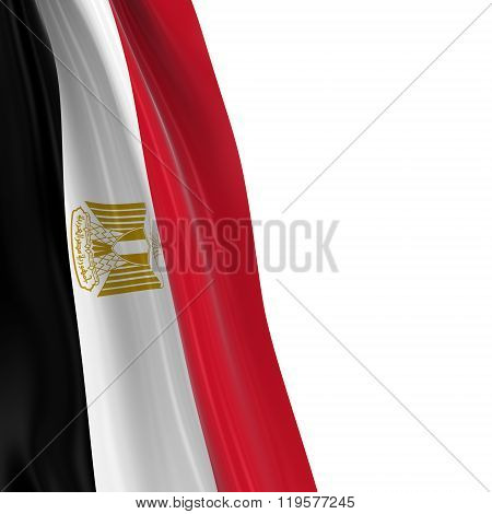 Hanging Flag Of Egypt - 3D Render Of The Egyptian Flag Draped Over White Background